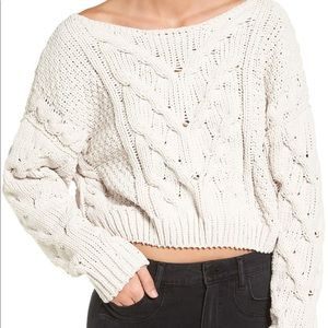 Free People Chunky Cable knit sweater in cream